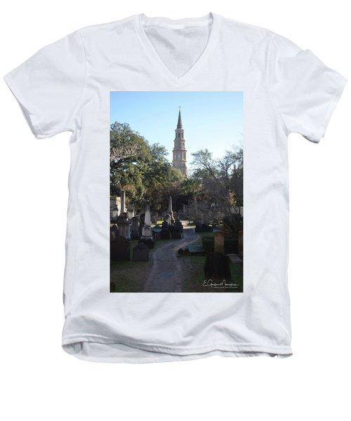 Circular Congregational Graveyard 3 Men's V-Neck T-Shirt by Gordon Mooneyhan
