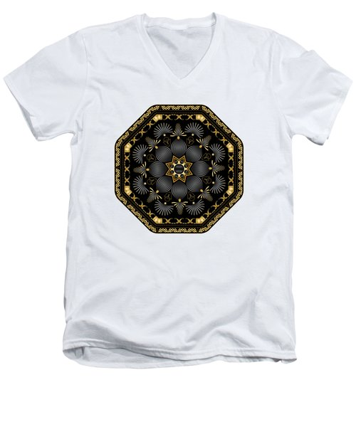 Men's V-Neck T-Shirt featuring the digital art Circularium No. 2616 by Alan Bennington