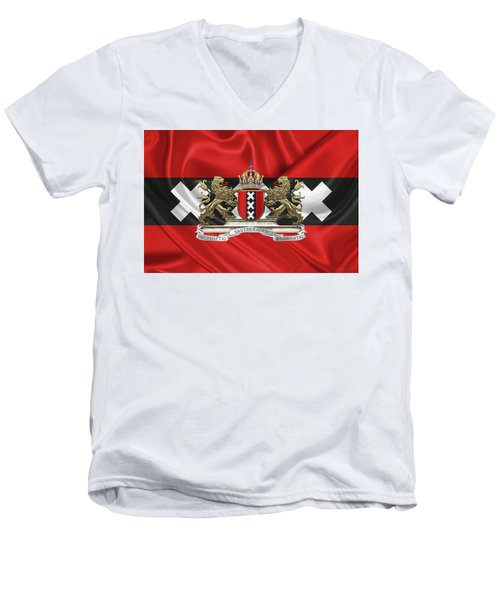 Coat Of Arms Of Amsterdam Over Flag Of Amsterdam Men's V-Neck T-Shirt by Serge Averbukh