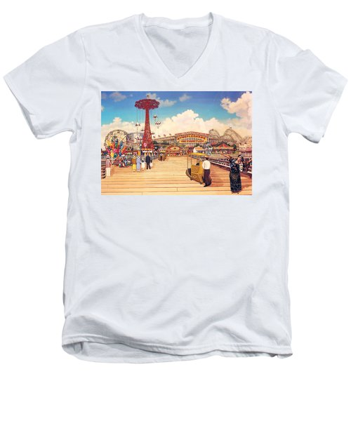 Coney Island Boardwalk Men's V-Neck T-Shirt