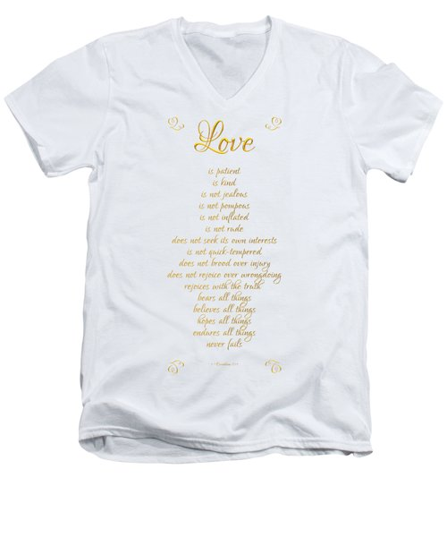 Men's V-Neck T-Shirt featuring the digital art 1 Corinthians 13 Love Is White Background by Rose Santuci-Sofranko