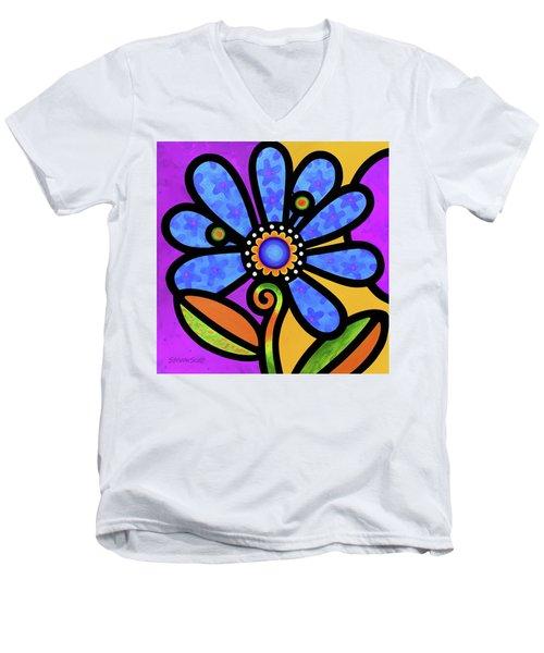 Cosmic Daisy In Blue Men's V-Neck T-Shirt