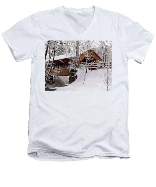 Covered Bridge At Olmsted Falls - 2 Men's V-Neck T-Shirt