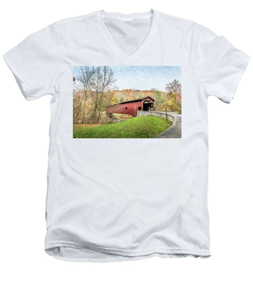 Covered Bridge In Pennsylvania During Autumn Men's V-Neck T-Shirt