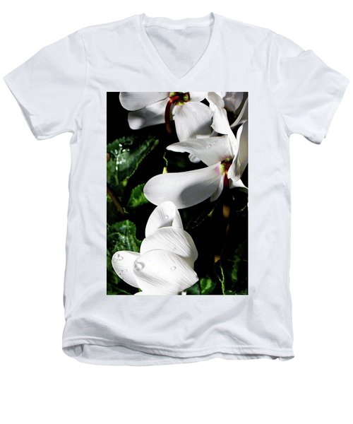 Men's V-Neck T-Shirt featuring the photograph Cyclamen by Mindy Newman