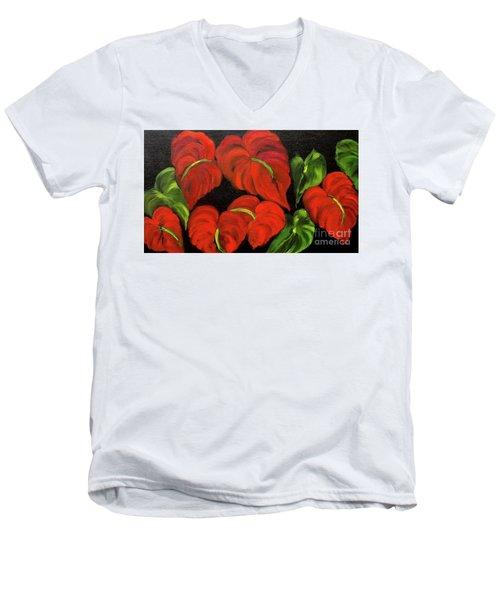 Dancing Anthuriums Men's V-Neck T-Shirt by Jenny Lee