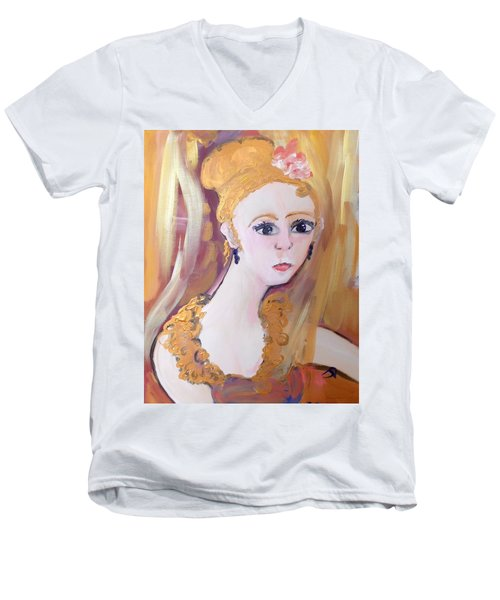 Deep In Thought  Men's V-Neck T-Shirt by Judith Desrosiers