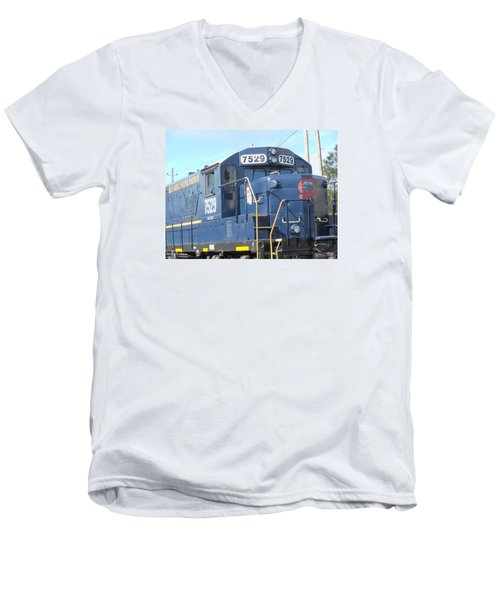 Diesel Engline Train Men's V-Neck T-Shirt by Linda Geiger
