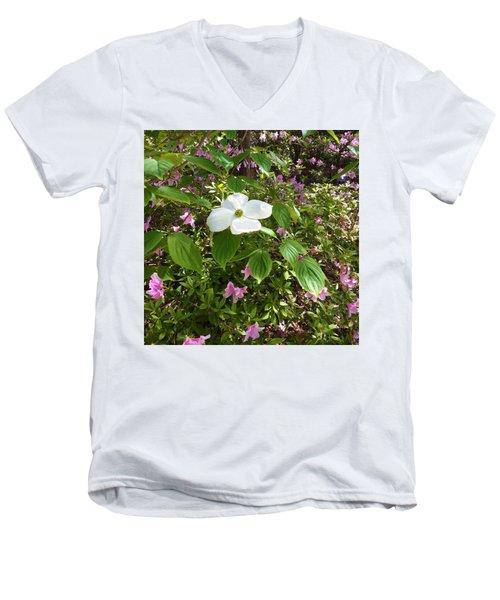 Dogwood Men's V-Neck T-Shirt by Kay Gilley