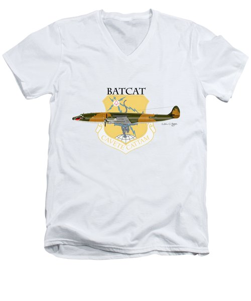 Ec-121r Batcat 6721498 Men's V-Neck T-Shirt by Arthur Eggers