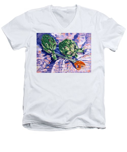 Edible Flowers Men's V-Neck T-Shirt by Jan Bennicoff