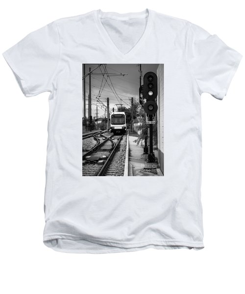 Electric Commuter Train In Bw Men's V-Neck T-Shirt