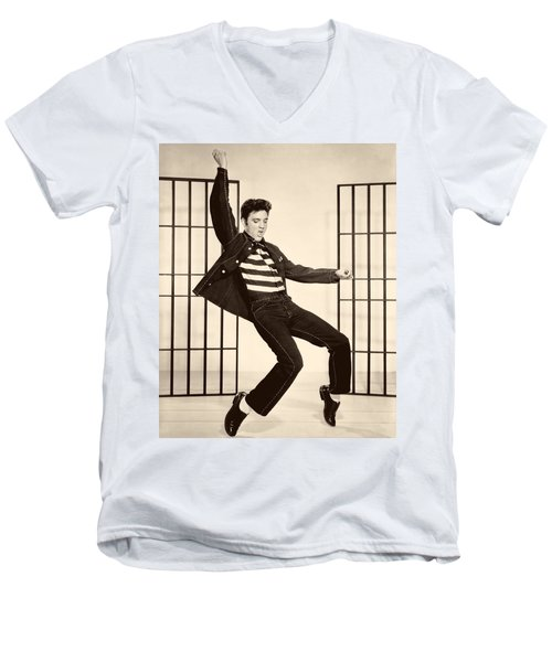 Elvis Presley In Jailhouse Rock 1957 Men's V-Neck T-Shirt