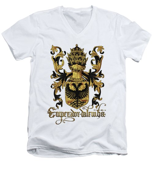Emperor Of Germany Coat Of Arms - Livro Do Armeiro-mor Men's V-Neck T-Shirt by Serge Averbukh