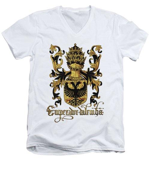 Emperor Of Germany Coat Of Arms - Livro Do Armeiro-mor Men's V-Neck T-Shirt by Serge Averbukh