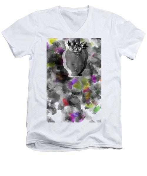 Exploding Head Men's V-Neck T-Shirt by Michal Boubin