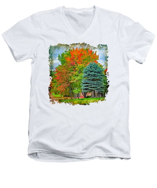 Fall Colors Men's V-Neck T-Shirt by John M Bailey