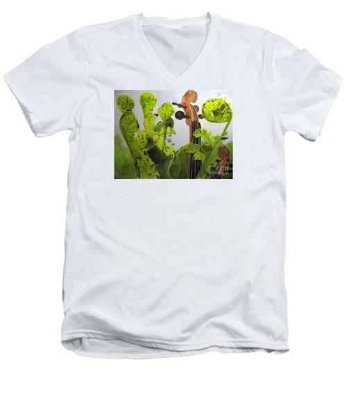 Fiddleheads Men's V-Neck T-Shirt by Sandy McIntire