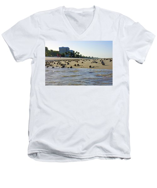 Fighting Conchs At Lowdermilk Park Beach In Naples, Fl Men's V-Neck T-Shirt