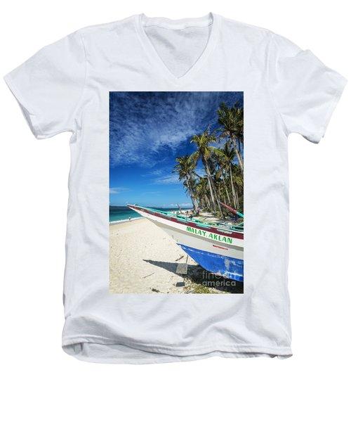 Fishing Boat On Puka Beach Tropical Paradise Boracay Philippines Men's V-Neck T-Shirt
