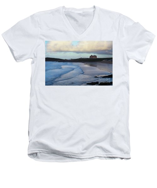 Men's V-Neck T-Shirt featuring the photograph Fistral Beach by Nicholas Burningham