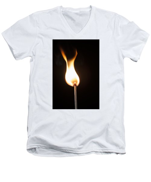 Men's V-Neck T-Shirt featuring the photograph Flame by Tyson and Kathy Smith