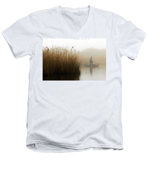 Foggy Fishing Men's V-Neck T-Shirt