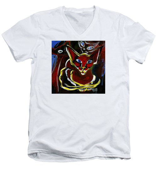 Men's V-Neck T-Shirt featuring the painting Foreign White Cat by Leanne WILKES