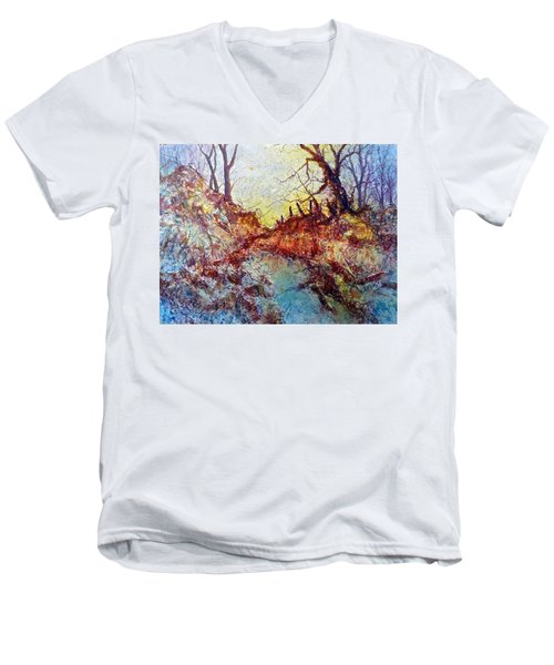 Men's V-Neck T-Shirt featuring the painting Forgotten Fence by Carolyn Rosenberger