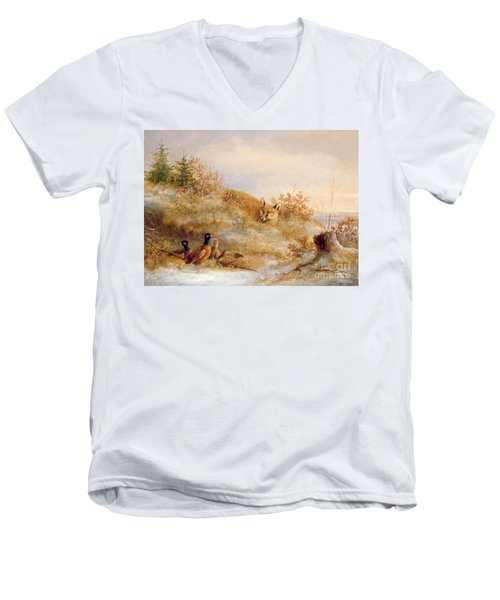 Fox And Pheasants In Winter Men's V-Neck T-Shirt by Anonymous