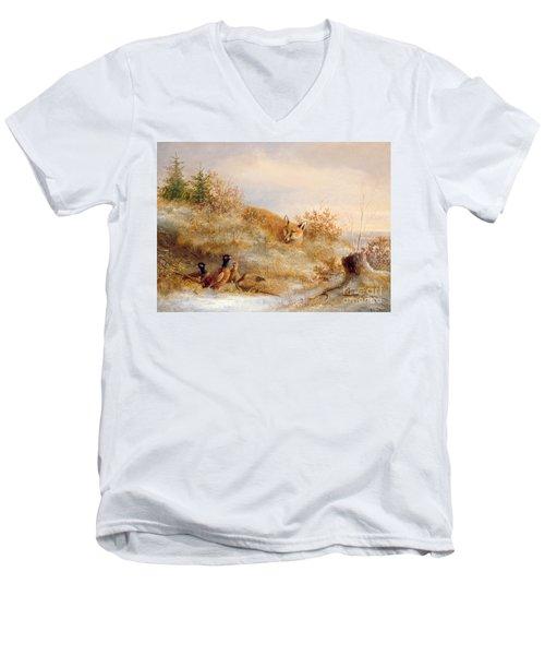 Fox And Pheasants In Winter Men's V-Neck T-Shirt