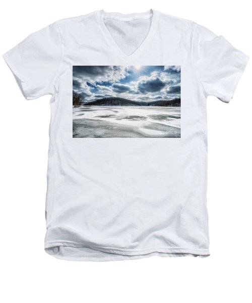 Frozen Lake Men's V-Neck T-Shirt by Thomas R Fletcher