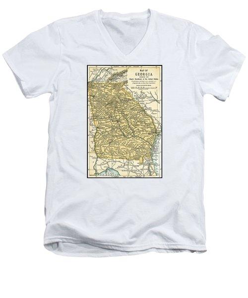 Georgia Antique Map 1891 Men's V-Neck T-Shirt