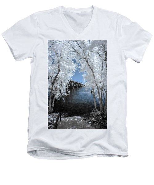 Gervais St. Bridge In Surreal Light Men's V-Neck T-Shirt