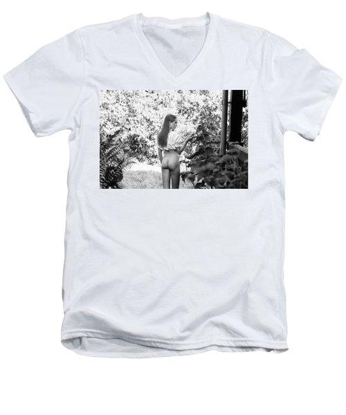 Girl In Swedish Garden Men's V-Neck T-Shirt