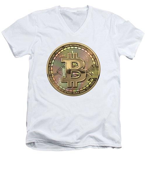 Gold Bitcoin Effigy Over White Leather Men's V-Neck T-Shirt