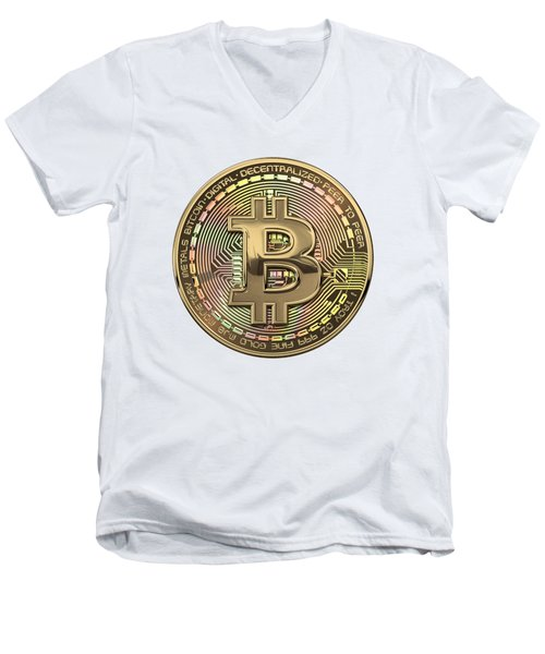 Gold Bitcoin Effigy Over White Leather Men's V-Neck T-Shirt