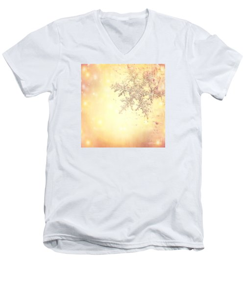 Golden Christmas Background Men's V-Neck T-Shirt
