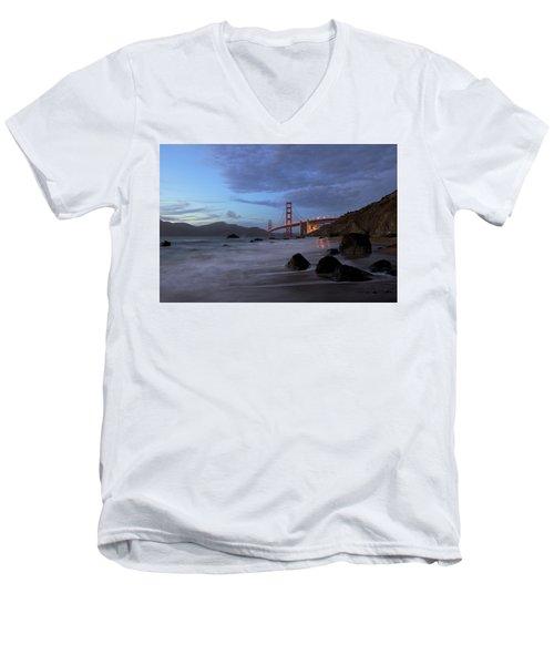 Men's V-Neck T-Shirt featuring the photograph Golden Gate Bridge by Evgeny Vasenev