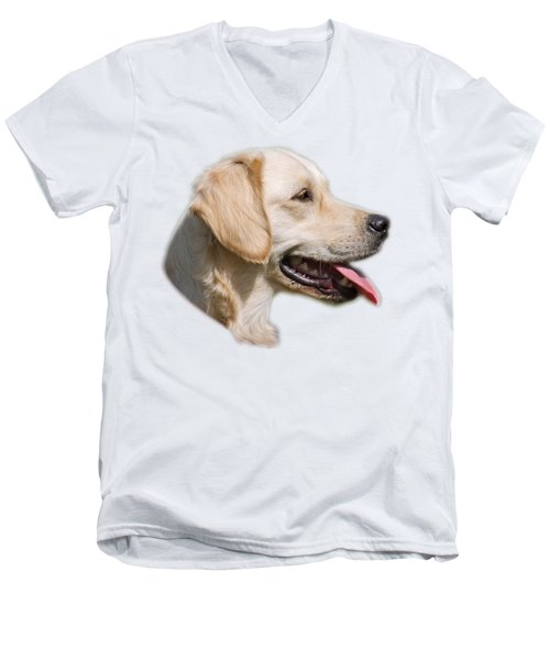 Golden Retriever Men's V-Neck T-Shirt by George Atsametakis