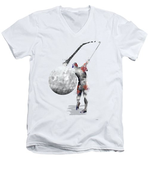 Golf Player Men's V-Neck T-Shirt by Marlene Watson