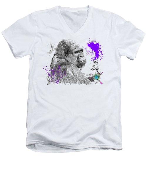 Gorilla Men's V-Neck T-Shirt by Maria Astedt