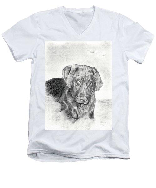 Men's V-Neck T-Shirt featuring the drawing Gozar by Mayhem Mediums