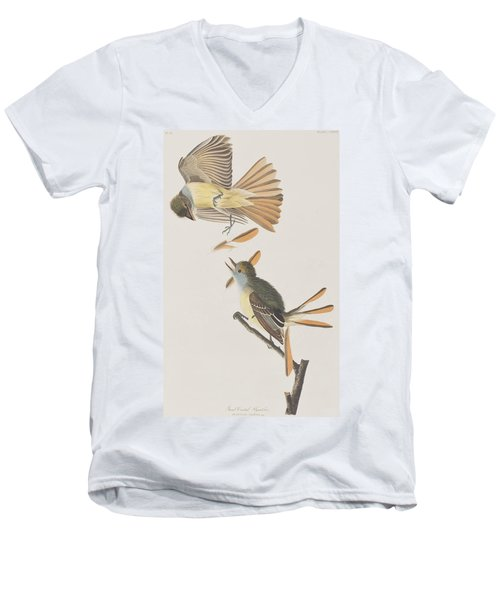 Great Crested Flycatcher Men's V-Neck T-Shirt