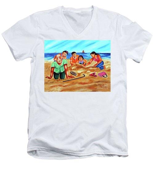 Happy Family Men's V-Neck T-Shirt by Ragunath Venkatraman