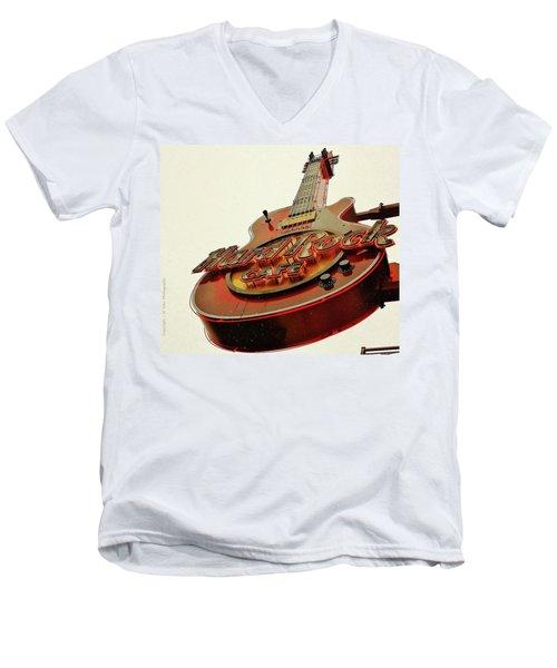 Hard Rock Cafe' Men's V-Neck T-Shirt by Al Fritz