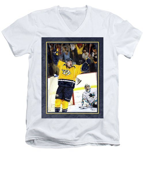 Men's V-Neck T-Shirt featuring the photograph He Shoots He Scores by Don Olea