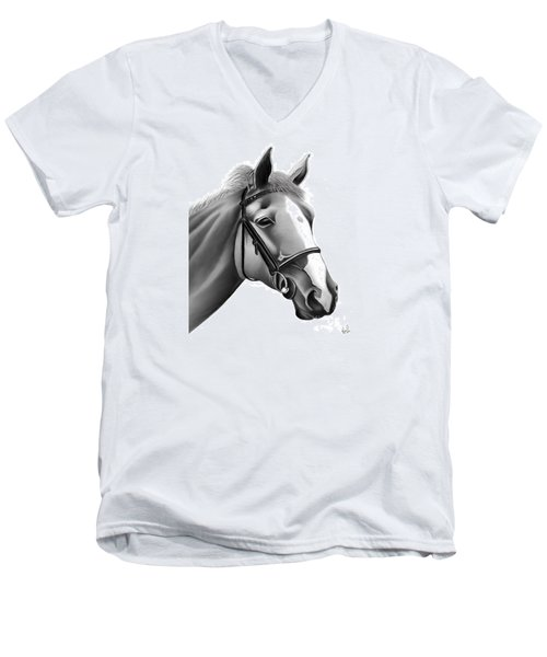 Men's V-Neck T-Shirt featuring the painting Horse by Rand Herron