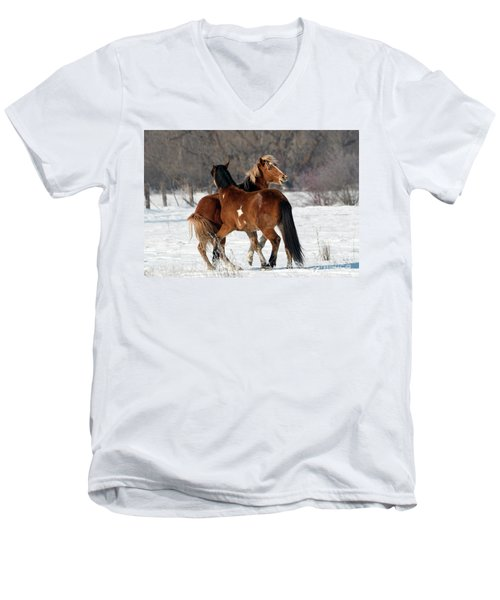 Men's V-Neck T-Shirt featuring the photograph Horseplay by Mike Dawson