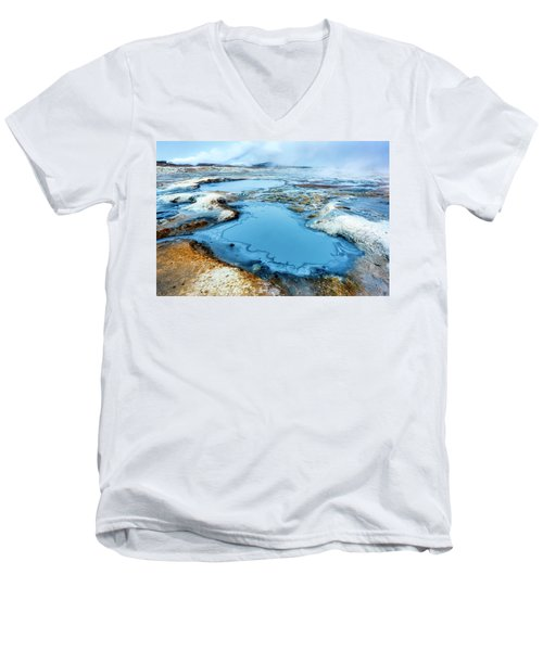 Hverir Steam Vents In Iceland Men's V-Neck T-Shirt by Joe Belanger